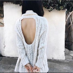 Free People Open Back Cable Sweater (Size XS)